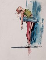 Bailarina 1 - aquarela, por Amaury Menezes