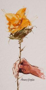 Cara ou Coroa 1 - aquarela, por Amaury Menezes