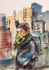 Dúbio 1 - aquarela, por Amaury Menezes